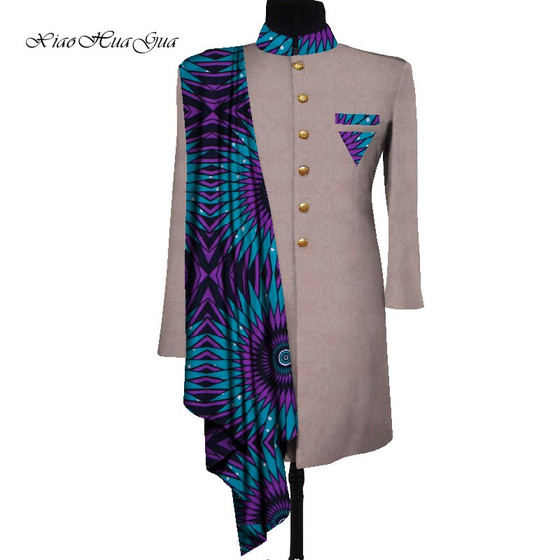 African Men Coat Long Print Men Clothes Suit Jacket Dashiki Tops Coat Patchwork Blazer Wedding Dress Suit Casual Shirt WYN658