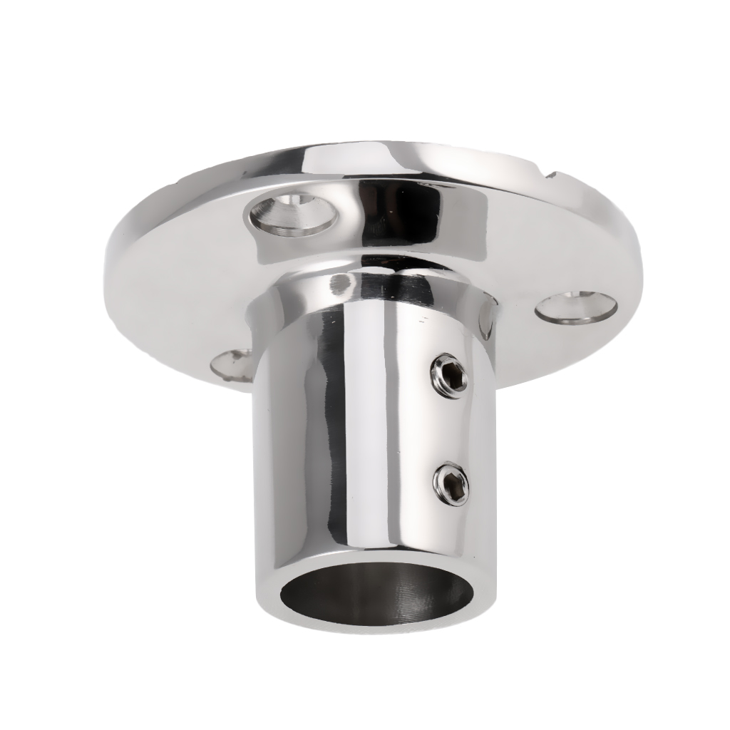 Boat Deck Mount Hand Rail Fitting Round Stanchion Base For 22mm Tube 90 Degree