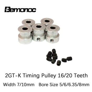 цена на Bemonoc 2GT-K Timing Pulley 16/20Teeth 5/6/6.35/8mm Bore 7/10mm Teeth Width GT2 Synchronous Wheel Fit GT2 Belt 3D Printer Parts