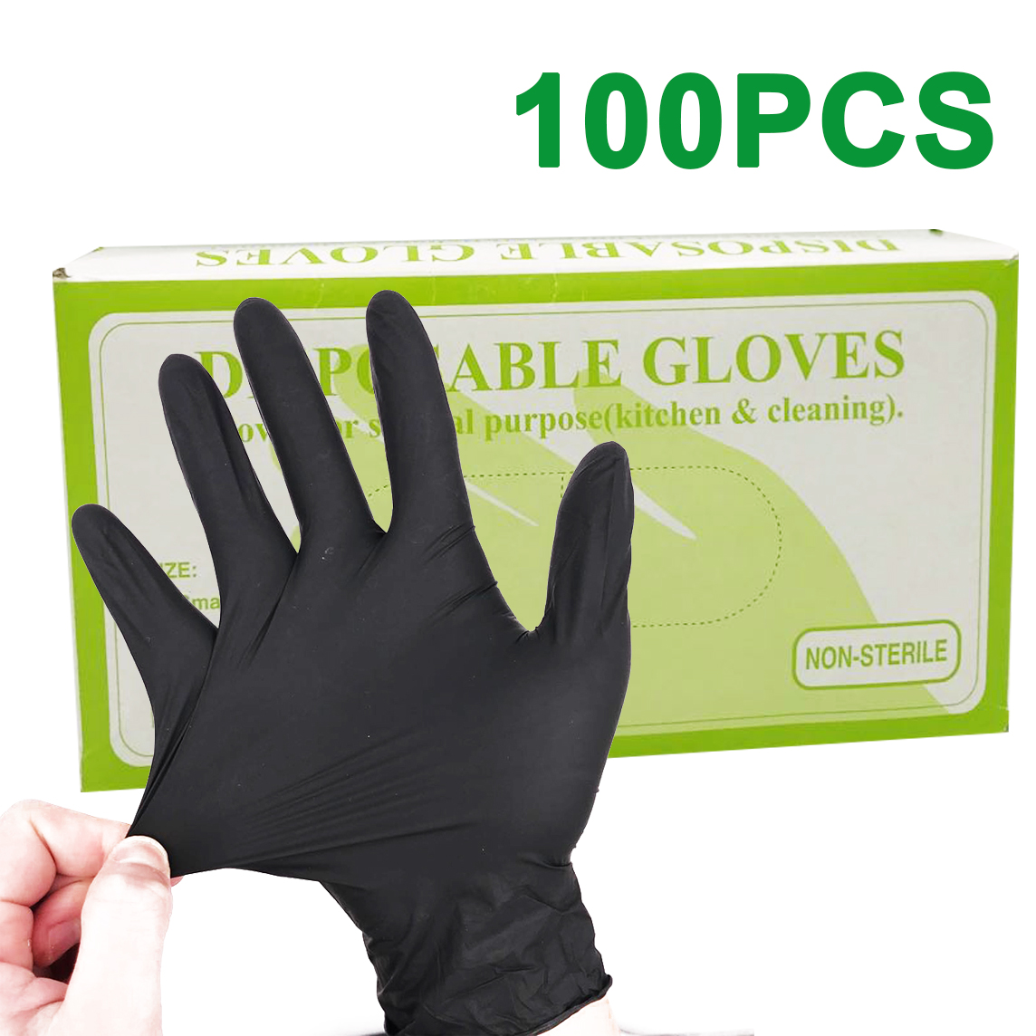 100pcs/lot Nitrile Gloves Black Food Grade Waterproof Allergy Free Medical Disposable Work Safety Gloves Nitrile Gloves Mechanic