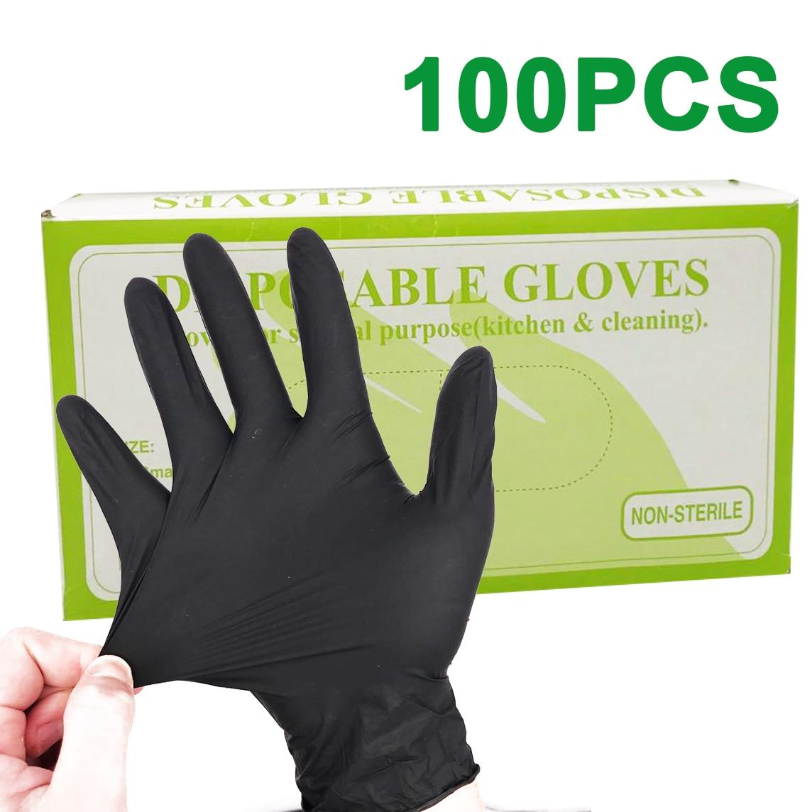 100pcs/lot Nitrile Gloves Black Food Grade Waterproof Allergy Free Medical Disposable Work Safety Gloves Nitrile Gloves Mechanic