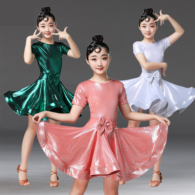 New Latin Dance Dress Kids Dresses For Girls Short Sleeve Bow Summer Ballroom Competition Costumes Samba Practice Waer 120-170CM