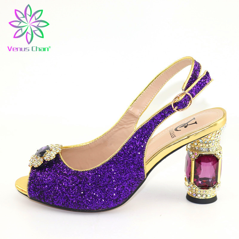 New Arrival Purple Color Italian Ladies Sexy High Heels Women Pumps Rhinestones Ladies Pumps African Sandal Shoes for Parties