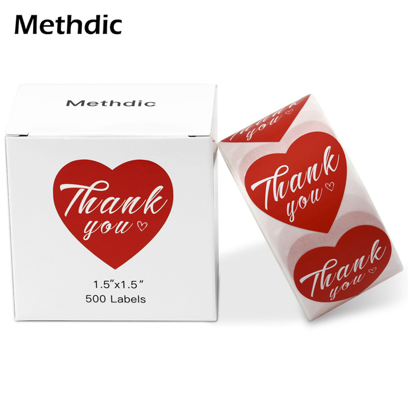 Methdic 500 Labels/roll Heart Shape Thank You Stickers For Wedding