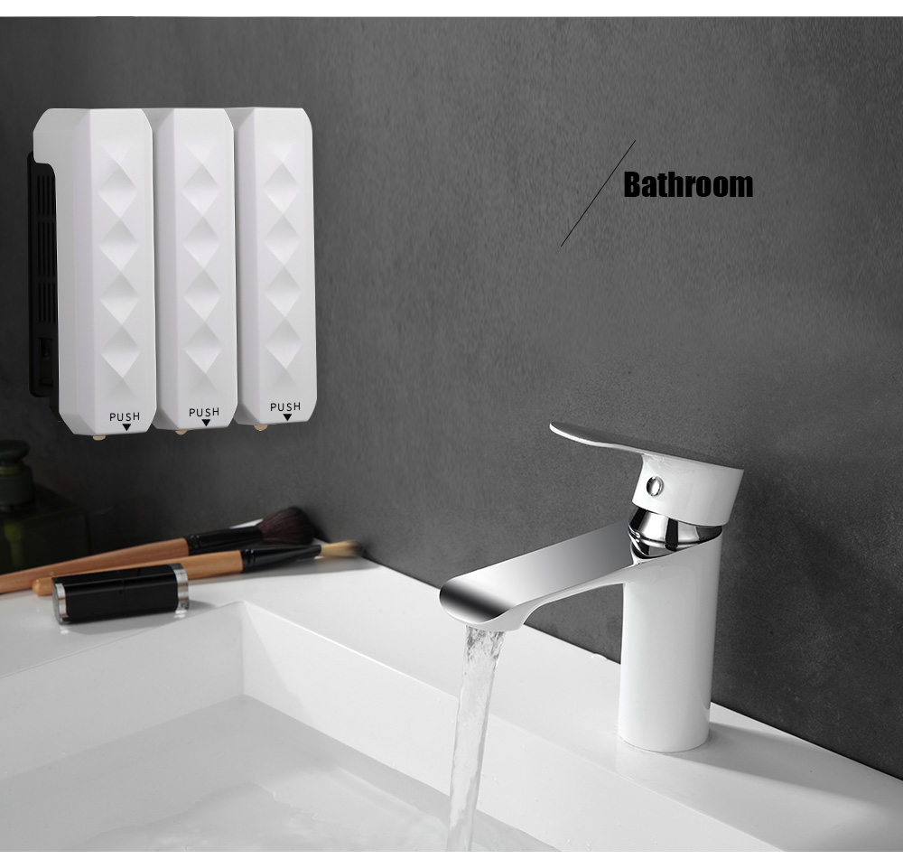 H58f2083bbbd0451fb24466c8abe786b2G Nail Free Wall Mounted Bathroom 350ML Soap Dispenser Mounted Shampoo Liquid Soap Bottle Bathroom Accessories