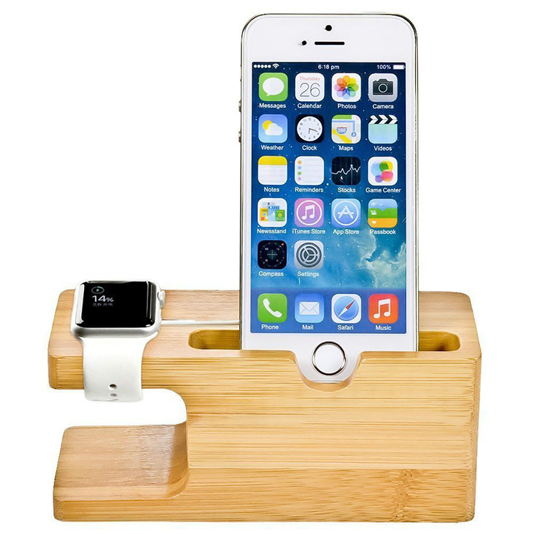 2 In 1 Bamboo Wood Desktop Stand For IPhone IPad Tablet Phone Stand Holder Charger Charging Dock Station For Apple Watch