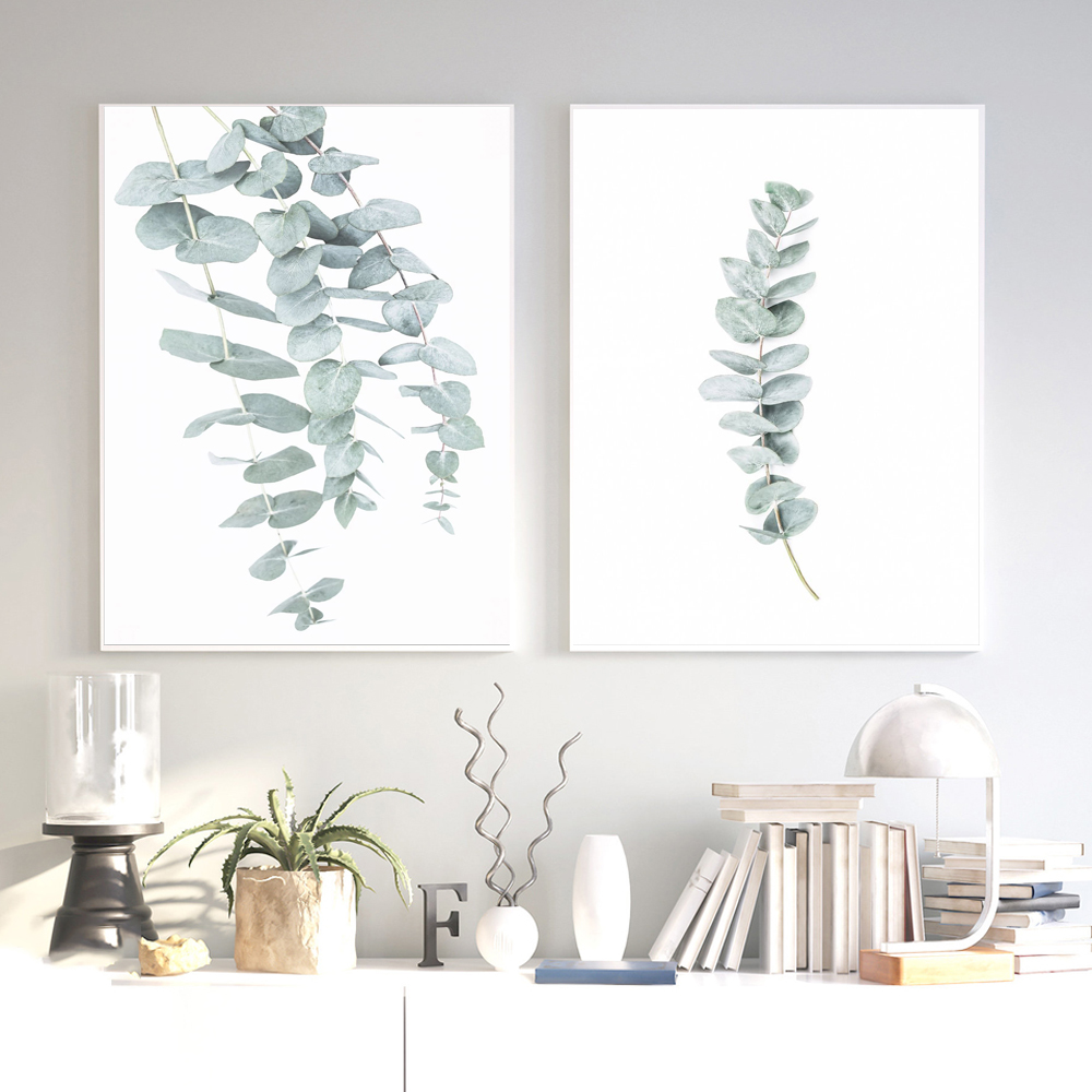 Eucalyptus Leaf Posters Botanical Canvas Painting Farmhouse Wall Decor Art Pictures Bedroom Decoration Scandinavian Salon Decor image