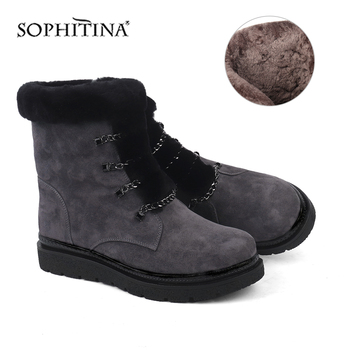 SOPHITINA Comfortable Round Toe Boots High Quality Kid Suede Fashion Zipper Handmade Women's Shoes Solid Ankle Snow Boots SC438 reisenthel мешок сумка mini maxi sacpack au4059 темно синий