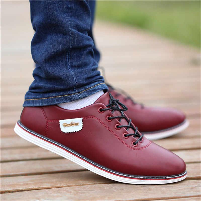 2020 패션로 퍼 산책 신발 Tenis Feminino 야외 통풍 스 니 커 즈 남성 PU 가죽 비즈니스 캐주얼 신발 남성
