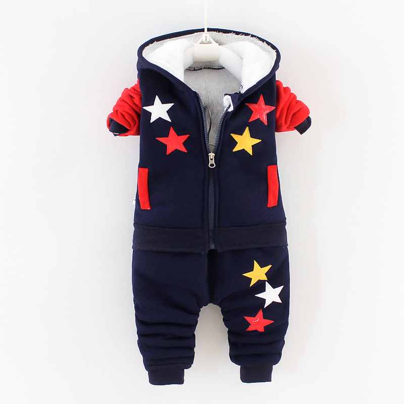 Winter Baby Boys Clothing Sets 2021 Cartoon Toddler Boys Girls Warm Hooded Coats Pants Suit Kids Thick Tracksuit Clothes Set 2