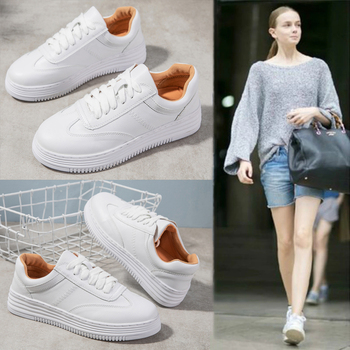 Fashion White Split Leather Women Chunky Sneakers White Shoes Lace Up Tenis Feminino Zapatos De Mujer Platform Women Casual Shoe 4