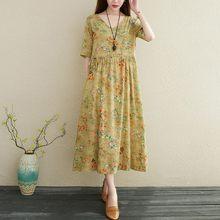 Women Cotton Linen Casual Dress New Arrival 2021 Summer Vintage Style V-neck Floral Print Loose Ladies A-line Long Dresses T003