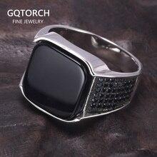 מובטח 925 כסף סטרלינג טבעות עתיק תורכי טבעת תכשיטי עבור גברים עם כיכר שחור טבעי אבנים פשוט עיצוב