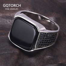 Guaranteed 925 Sterling Silver Rings Antique Turkish Ring Jewellery For Men With Square Black Natural Stones Simple Design