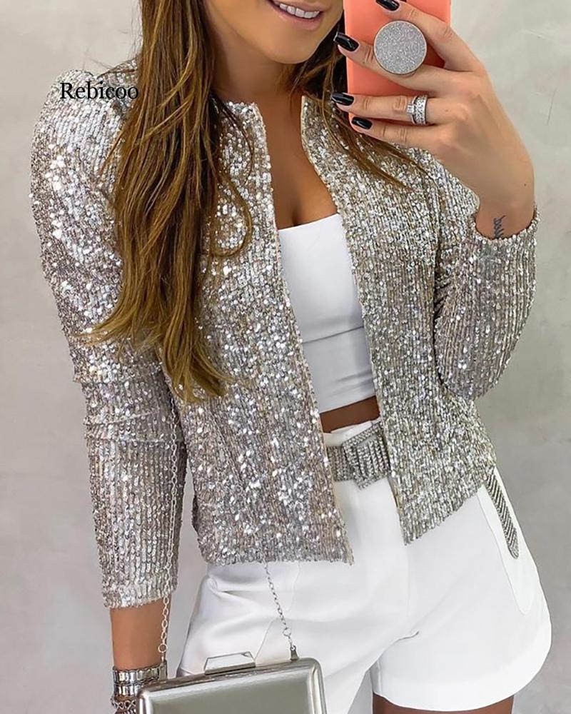 Women Jacket Sequined Bling Bling Glitter Coat Female Tops Open Front Stand Collar Long Sleeve Cool Party Clubwear 2 Color
