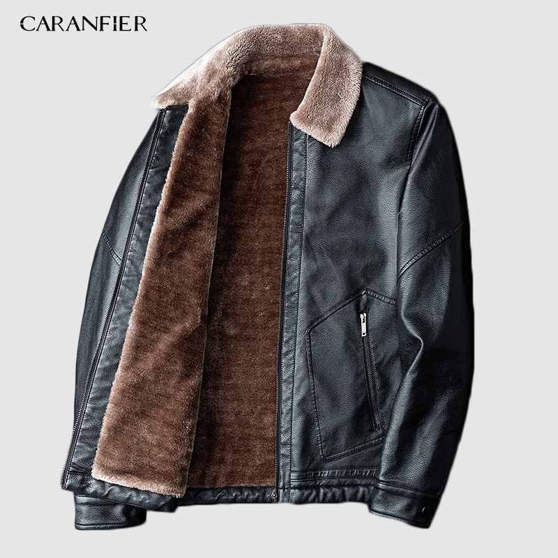 CARANFIER Men Leather Jacket Male Autumn Winter Motorcycle Retro Pocket Thermal Collar Velvet Top Coats Leather Biker Jackets