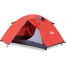 Hewolf new style high quality aluminum rod double layer 2 person waterproof ultralight camping tent good quality flytop double layer 2 person 4 season aluminum rod outdoor camping tent topwind 2 plus with snow skirt 3colors