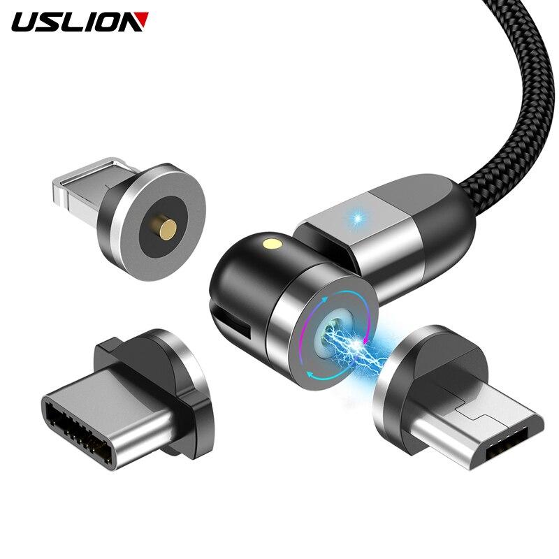USLION Магнитный кабель usb Type C Магнитный зарядный Micro usb кабель для iPhone Samsung usb c Быстрая зарядка 2020 Новый зарядный провод