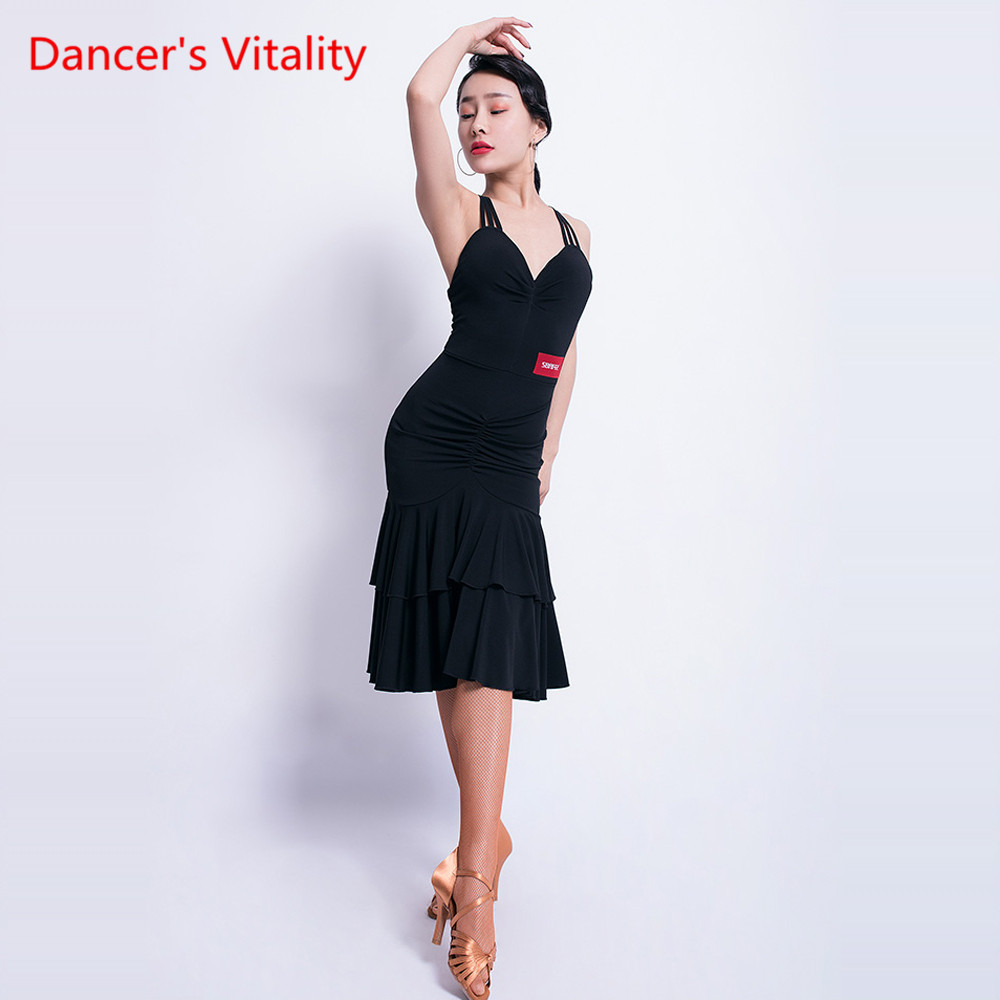 New Latin Dance Dress Female Adult Dress Sexy Sling Performance Dance Clothes Female Professional Competition Clothes