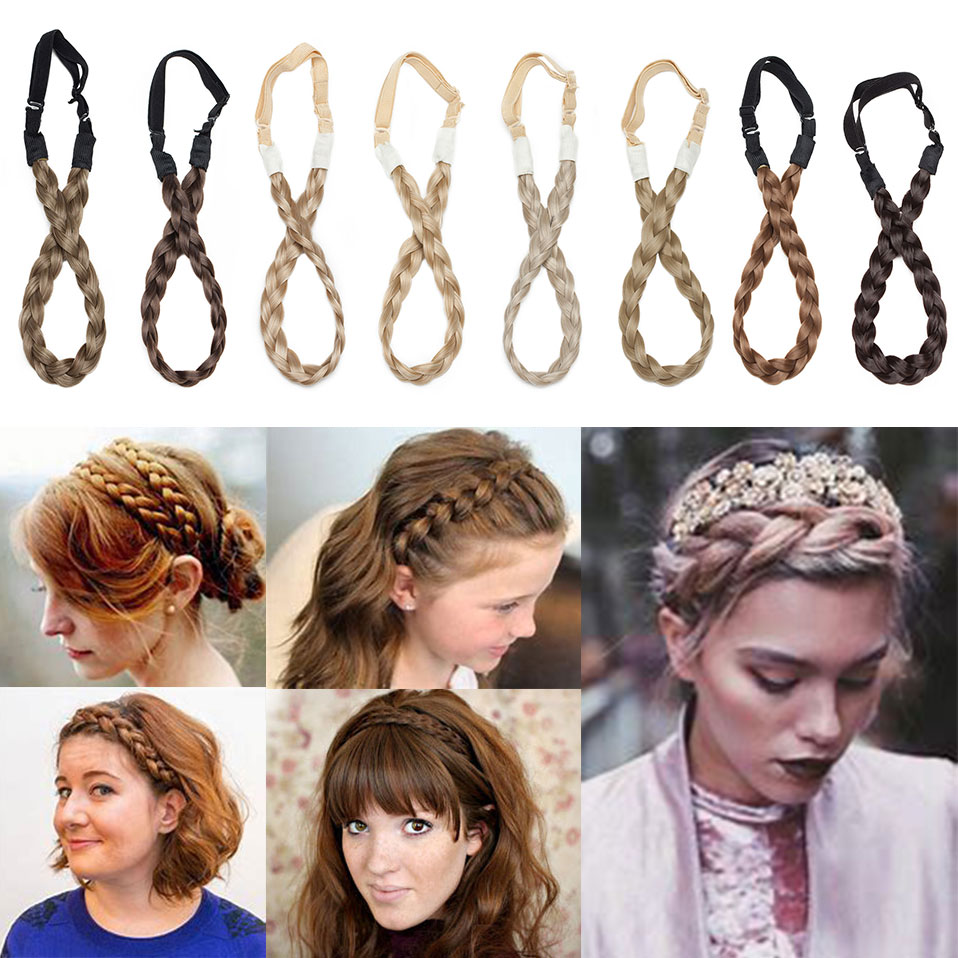 S-noilite 3 Sizes Headband Braids Hair With Adjustable Belt Plaited Hairband Bohemian Style Synthetic Women Hairpieces