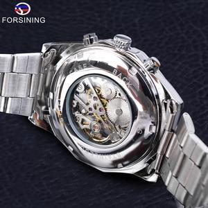 Image 5 - Forsining reloj deportivo informal para hombre, resistente al agua, de acero inoxidable y plata 2017, militar, Reloj de pulsera mecánico