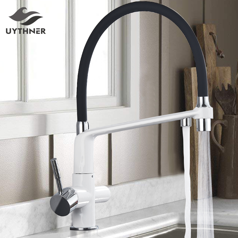 Kitchen Water Filter Faucet Kitchen faucets Dual Spout Filter faucet Mixer 360 Degree Rotation Water Purification Feature Taps