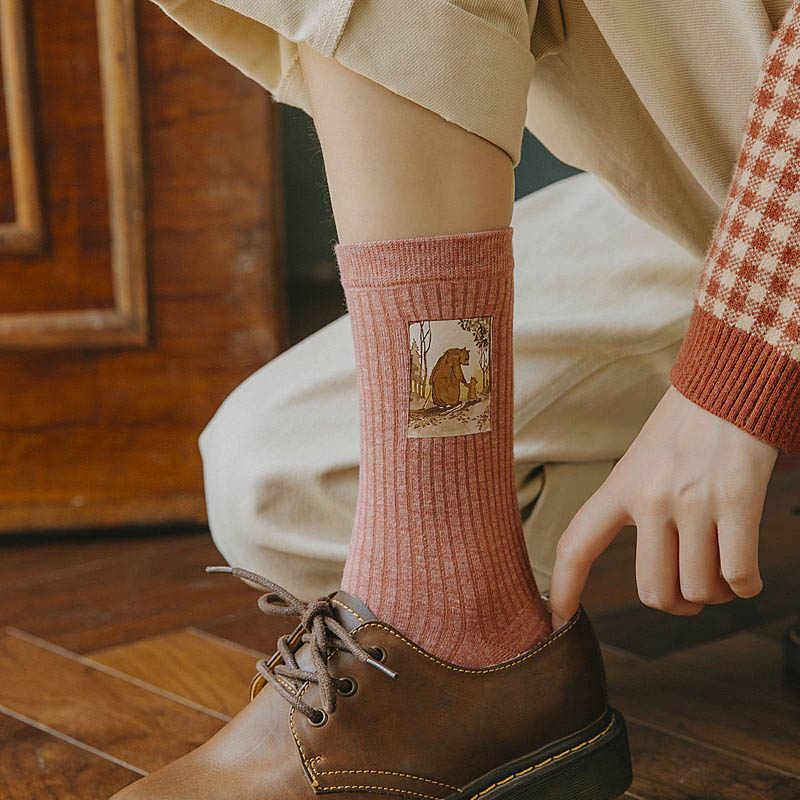 Imprimé Animal Harajuku Kawaii femmes chaussettes lapin ours conception mignon chaussettes abstraite peinture à l'huile Style coréen Art créatif Sokken