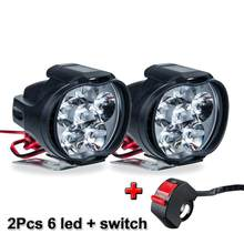 1 Set 6LED Sepeda Motor Lampu Sorot Plastik Tambahan Headlamp Tahan Air Tahan Debu Umum Switch Skuter Kabut Lampu Sorot(China)