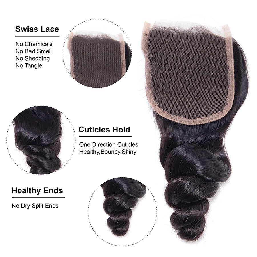 JSDShine Brasilianische Lose Welle Spitze Schließung Kostenloser Teil Nicht Remy 3 Bundles Haarwebart Natürlichen Farbe Menschliches Haar Bundles Mit verschluss