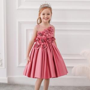 Летнее платье с цветочным узором для девочек детское платье принцессы для свадебной вечеринки, костюм для девочек бальное платье, одежда дл...