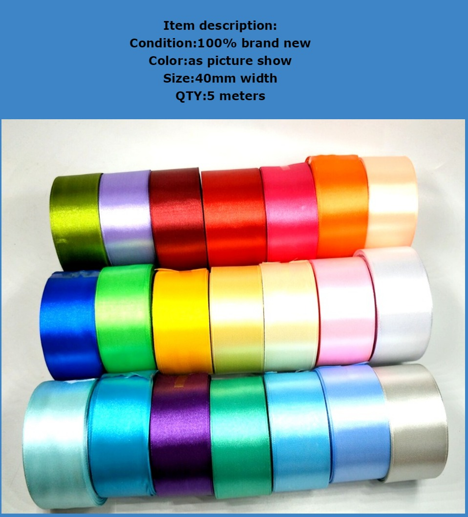 H58f36bf51ebc4849ba498f4502df64bcg HL 5 meters 15/20/25/40/50mm Solid Color Satin Ribbons Wedding Decorative Gift Box Wrapping Belt DIY Crafts