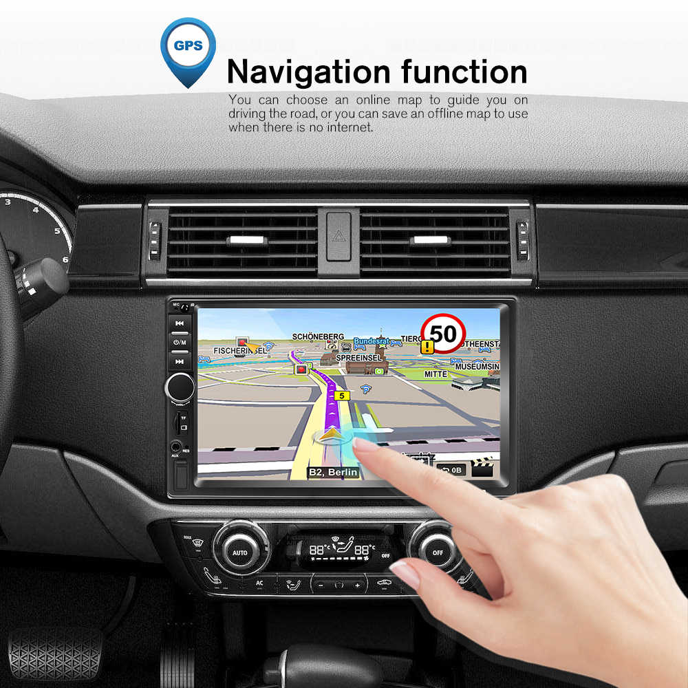 Podofo 2 dinカーラジオgpsマルチメディアプレーヤーアンドロイドユニバーサルオートステレオ 2dinビデオMP5 プレーヤーautoradio gps wifi bluetooth fm