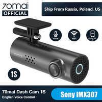 Carro DVR 1 70mai S APP & Inglês 70mai 1S 1080P HD de Visão Noturna Controle de Voz 70 MAI câmera Do Carro Gravador De Wi-fi 70mai 1S Traço Cam 1S