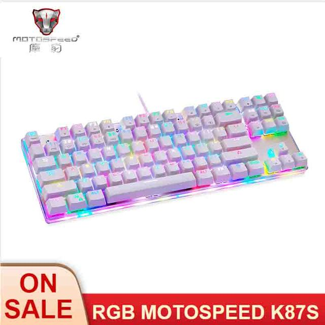 MOTOSPEED Teclado mecánico K87S para videojuegos teclado de juegos por cable, personalizado, LED RGB retroiluminado con 87 teclas para lol cf