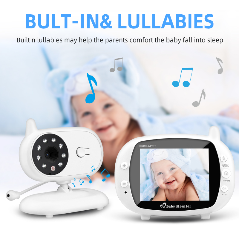 Wireless Baby Monitor Security Camera 3.5 Inch LCD Audio Nanny IR Night Vision Voice Call Babyphone Video Temperature Monitoring