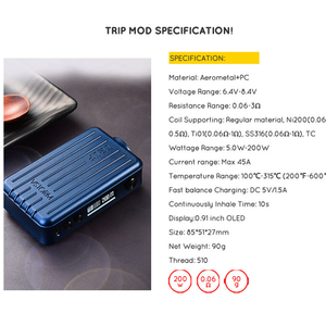 Image 4 - بخار العاصفة 200 واط تجاوز صندوق Mod رحلة 0.91 بوصة شاشة VW TCR CCW وضع 510 موضوع المغناطيس غطاء سيجارة إلكترونية وزارة الدفاع