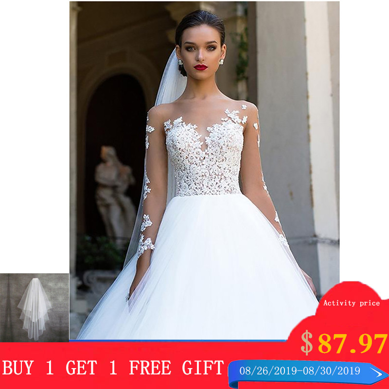 SoDigne Long Sleeves Wedding Dress 2019 Beach Bridal Gown Tulle Lace Appliques Wedding Dresses White/Ivory Romantic Buttons