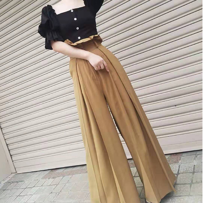 Hot DealsTWOTWINSTYLE Pant Clothing Ruffles Women Pleated Loose Female High-Waist Fashion Wide