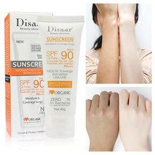 Protetor solar de corpo e facial, protetor solar em creme para proteção da pele, anti-envelhecimento, com óleo hidratante para controle, spf 90