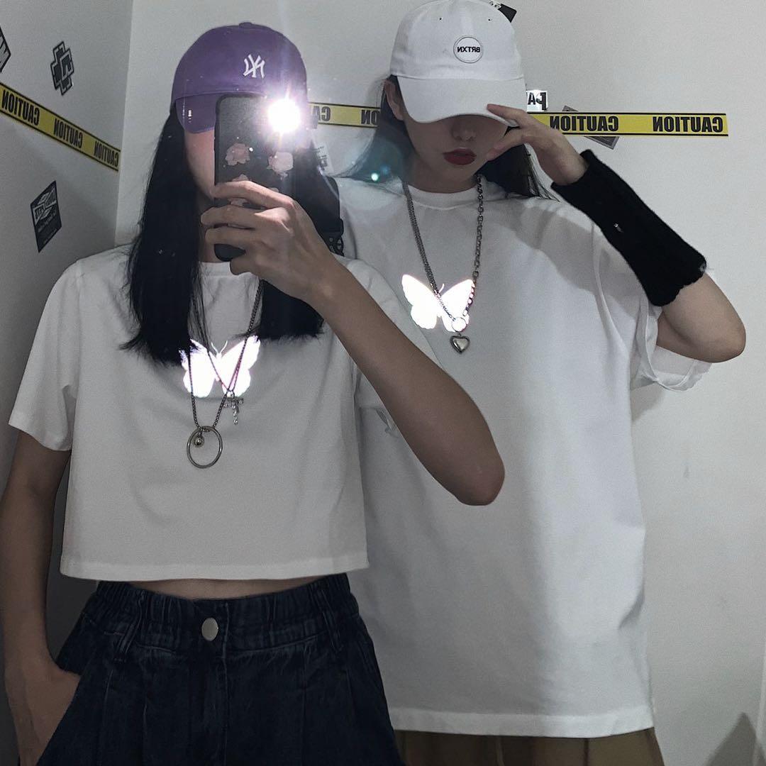2020 Women Casual Loose Butterfly Print Tshirt Short Fashion Vintage Harajuku Streetwear Brandy Melville Style Crop Top T Shirt