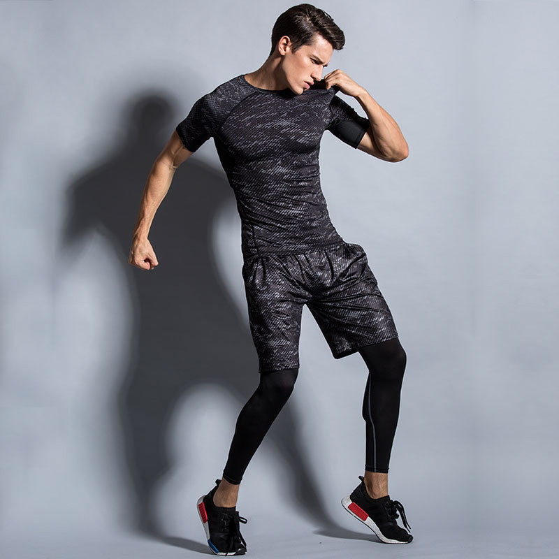 Men's Short Sleeve Fitness Elastic Sweat Absorbing Quick-Dry Breathable Athletic Clothing Short Shorts Printed Set