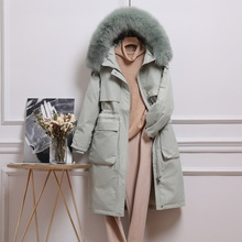 FTLZZ Winter Artificial Fur Hooded Long Jacket 90% White Duck Down Coat Big Pocket Parkas Loose Warm Jackets Yellow Snow Outwear