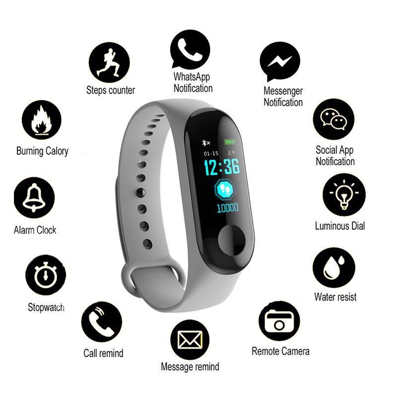 Activity-Tracker Fitness-Bracelet Smart-Watch Blood-Pressure Color-Screen Sport Waterproof