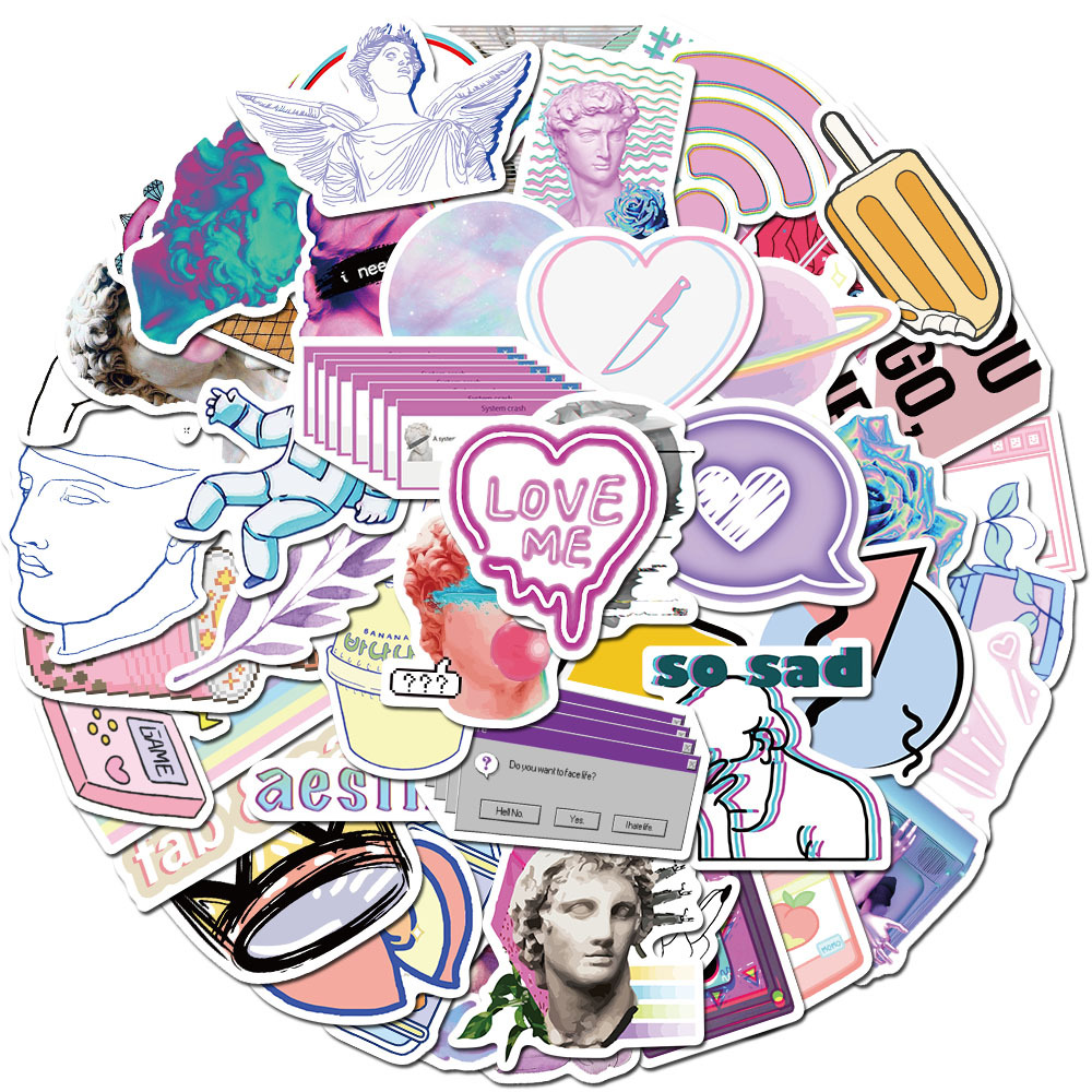 50pcs Vaporwave Art Style Sticker For Laptop Computer Skateboard Luggage Refrigerator Notebook Helmet Toy Cartoon Stickers F5