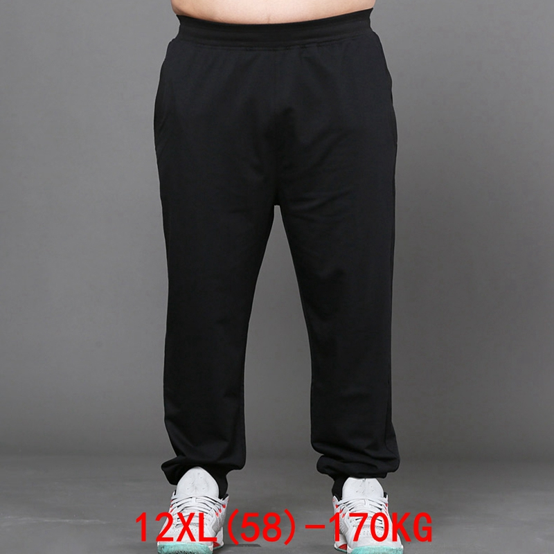 Men's Big Pants 170KG Plus Size 11XL 12XL Loose Stretch Large Size 6XL 7XL 8XL 9XL 10XL Spring Casual Pants Black50 52 54 56 58