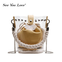 2019 Fashion Women Brand Designer Bucket Shoulder Bag Clear Transparent PU Leather Composite Messenger Bags New Female Handbags