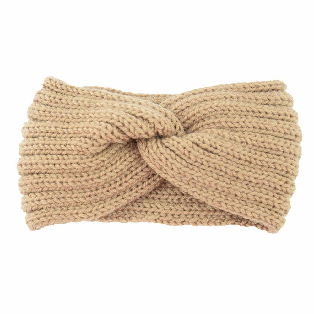 Ocieplacz na zimę opaska z dzianiny Turban dla pani kobiet kokarda wykonana na szydełku szeroki Stretch Hairband Headwrap akcesoria do włosów