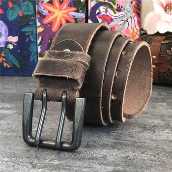 Double Pin Vintage Belt Buckle Super Wide 4.2CM Genuine Leather Men Belt Luxury Ceinture Homme Jeans Cinturon Mujer MBT0018 2