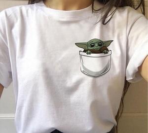 New Casual Baby Yoda T-shirt Graphic Tees Women Hip Hop Star Wars Kawaii O-Neck Short Sleeve 90s Mandalorian Harajuku Tops Tees(China)