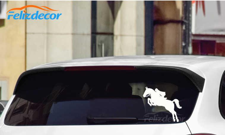 Poco chica montar caballo saltando del cuerpo del coche pegatinas pegatina para puerta o cristal divertido Top calidad impermeable ZP199